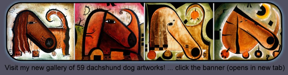 Dachshund dog artworks by Artist David King : abstract stylized unique original art