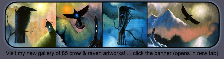 Crow and raven bird art by Artist David King : abstract stylized unique original art